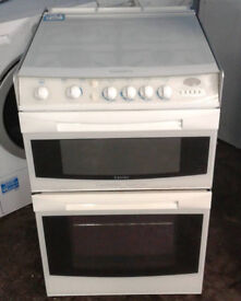 O505 white cannon 55cm double oven gas cooker come swith warranty can be delivered or collected