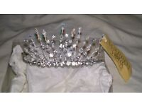 brand new silver tiara with crystals and pearls