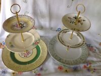 Vintage china and pottery mix, three tier cake stand pair