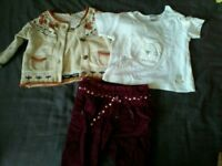 Baby girl 3-6 outfit - trousers, T-shirt, cardigan