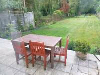 Teak garden table and 4 chairs