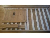 Solid wood single bed with memory foam mattress