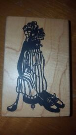 woden rubber stamp golt club and shoes