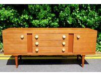 Stylish Vintage Danish style long teak sideboard. Delivery. Modern/ Midcentury.