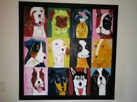 Extra Large DWELL Framed Oil Canvas Dogs