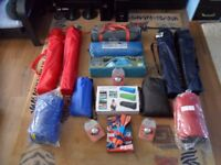Camping tents -sleeping bags -folding chairs -lounge-airs -and bits