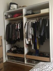 Ikea PAX wardrobe, white, 200x58x236 cm, with shelves rails and drawers