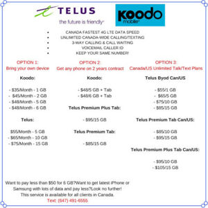 ......kOODO/TELUS $48/6GB $65/10GB PLANS..................