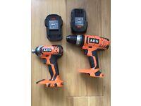 AEG 18V 2 Piece Combi Kit - 2 x 2.0Ah Batteries, drill, drill set