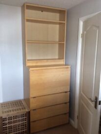 Ikea Billy Shelving unit excellent condition. With 3 draws, 1 pull down storage cupboard