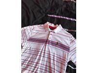 Genuine men's Luke short sleeved polo. Size medium. Cream/white with stripes