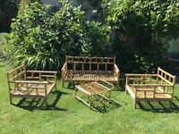 Very Rare Vintage 1970s Bamboo Conservatory Furniture, Settee and Two Chairs