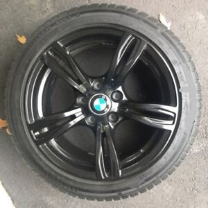 4 bmw rims 245/45/18 HANKOOK ipike WINTER tires %95 tread left