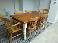 Solid farmhouse table and six chairs