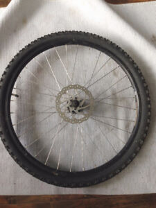 """26"""" front wheel with tire and camera, 6 bolts disk compatible"""