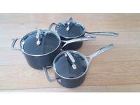 Le Creuset 16, 18, 20cm Saucepan / Pot Set with Glass Lids - Used