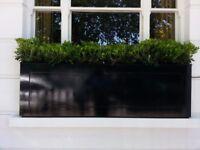 Designer Handmade big black wood window box/garden trough/planter NEW