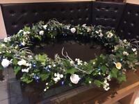 Handmade Artificial flower rings/chandeliers x2