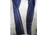 tight-fit jeans for girls 9-10 with studs