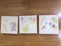 3 neutral nursery canvases - 20cm x 20cm