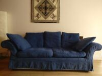 Blue Marks and Spencer three seater sofa for sale, +2 charm of sleeping, £50, buyer collects