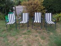 4 x vintage striped garden deck chairs