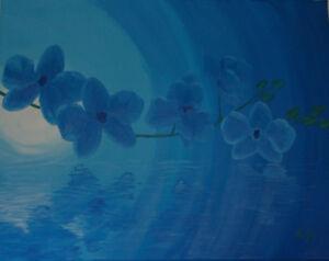 """Toile peinte à la main """"Orchidée bleu"""""""