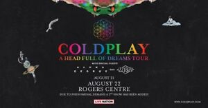 Coldplay concert tickets for the 21st of August at 7:00PM