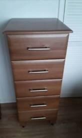 Set of 5 drawers on wheels
