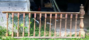 Vintage Wooden Railing and Baluster Section (Rustic)