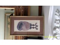 Picture Of OWL Mounted in a Brass Frame