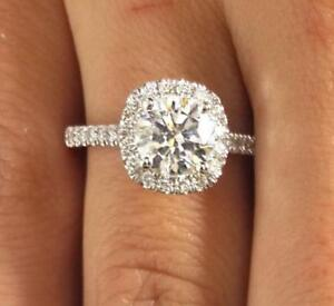 CERTIFIED 3.00 CT. REAL  ROUND ENHANCED DIAMOND ENGAGEMENT RING