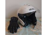 HJC Scooter Helmet and Gloves