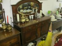 VINTAGE ORNATE MIRROR BACKED MAHOGANY SIDEBOARD. BACKBOARD DETACHABLE.IDEAL PAINTED. DELIVERY POSS