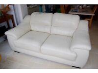 2 Off-White Leather Sofas
