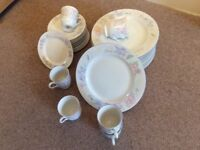 Crockery - Prestige by Excel - White with pale pink and grey floral pattern