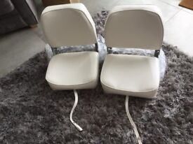 2 X WHITE BOAT FOLDING SEATS BRAND NEW STILL IN BOXES