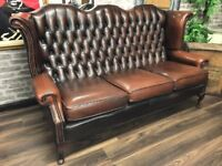 Chesterfield Wing Sofa - Antique Brown