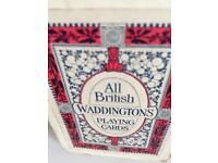 Antique 1930s set waddingtons Linen playing cards of racing horses in box .