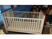 White cot bed (optional mattess available)