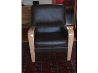 Ercol-Gplan brown leather maple wood chairs