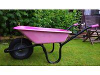 Wheelbarrow pink galvanised steel