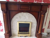 Wooden fire surround with marble hearth and back panel, (not fire)