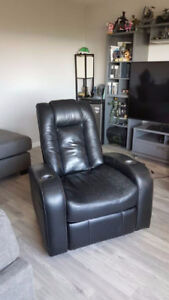 Used Black Leather Recliner - $50
