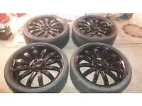 22 TIGER ALLOY WHEELS 5 x 120 RANGEROVER SPORT VOGUE REFURBISHED + GOOD TYRES VW T5