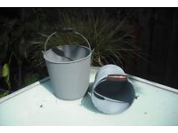 3 sets of 2 metal bucket style planters