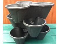 3 x trio pot stacking planters strawberries, herbs, flower bedding planter - black
