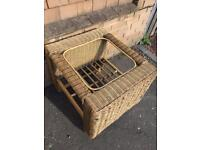 Wicker and Bamboo Tinted Glass Top Table