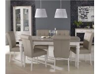 Bentley Designs Montreux Washed and Soft Grey 6-8 Extension with 6 Leather Chairs