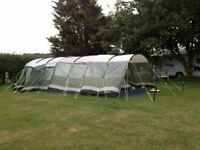 Outwell Montana 6 with full frontal awning plus carpet, plus footprint groundsheet plus extension